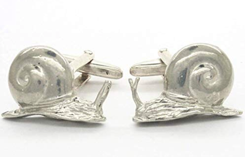Handmade Snail Cufflinks in solid pewter