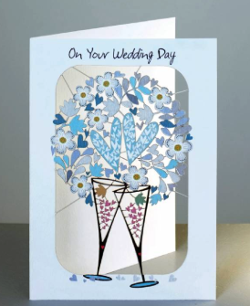 Wedding glasses and hearts