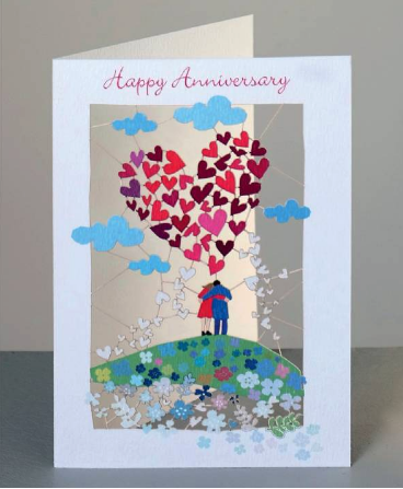 Happy Anniversary Couple & Heart Greetings Card