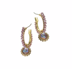 Earrings  - Mini Hoop with Crystal Thread & Drop - Gold/Lavender