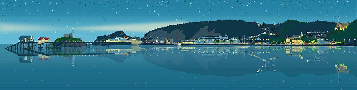 Mumbles Promenade at Dusk Giclee Print sold on behalf of  Noodle Design