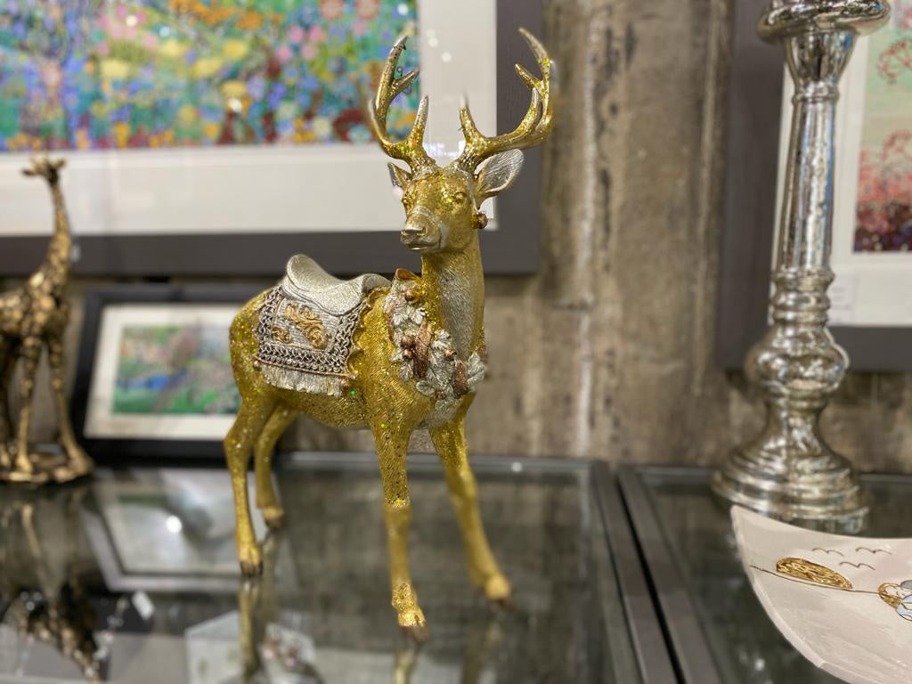 Gold/Silver Resin Standing Stag Ornament