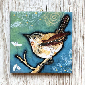Wren on Aqua Mini Ceramic Art Tile by Dawn Maciocia