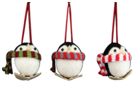 Wool Mix Round Penguin with Scarf Decoration