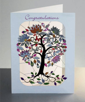 Exotic Flowering Tree Congratulations Card