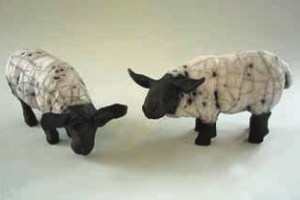 Small Raku Sheep 10cm high 15 cm long