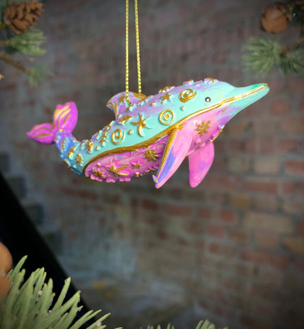 Pastel Gold Resin Whale Dolphin Dec 2as