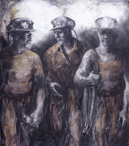 Trio of Miners 38 x 43.5 cm print Sold on Behalf of Valerie Ganz