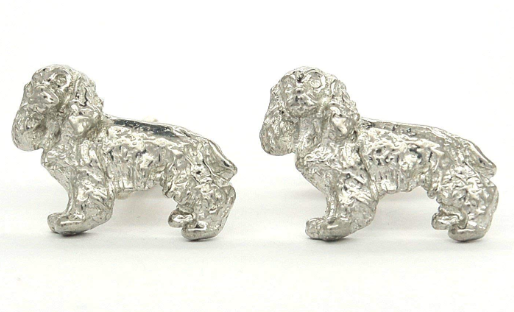 Handmade Cocker Spaniel Cufflinks in solid pewter