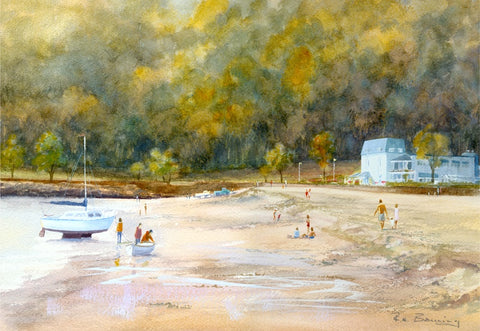 Oxwich Bay with a yacht pulled up on the sand and the Oxwich Bay Hotel highlighted against the woods in the background, painted in watercolour by R N Banning