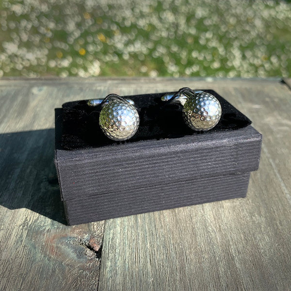 Handmade Golf Ball Cufflinks in solid pewter