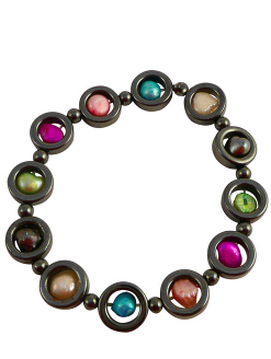 Hematite and Pearl Rainbow Bracelet