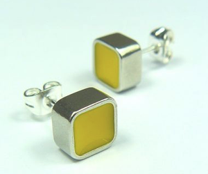 Colour Block Earstuds Yellow sold on behalf of Koa Jewellery