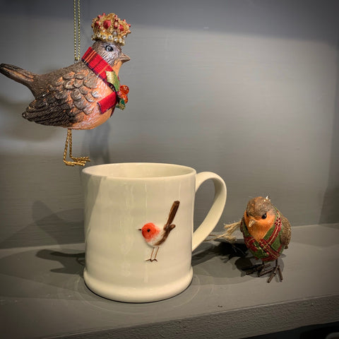 Ceramic Mini Mug with Robin