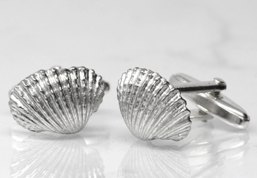Handmade Clam Cufflinks in Pewter