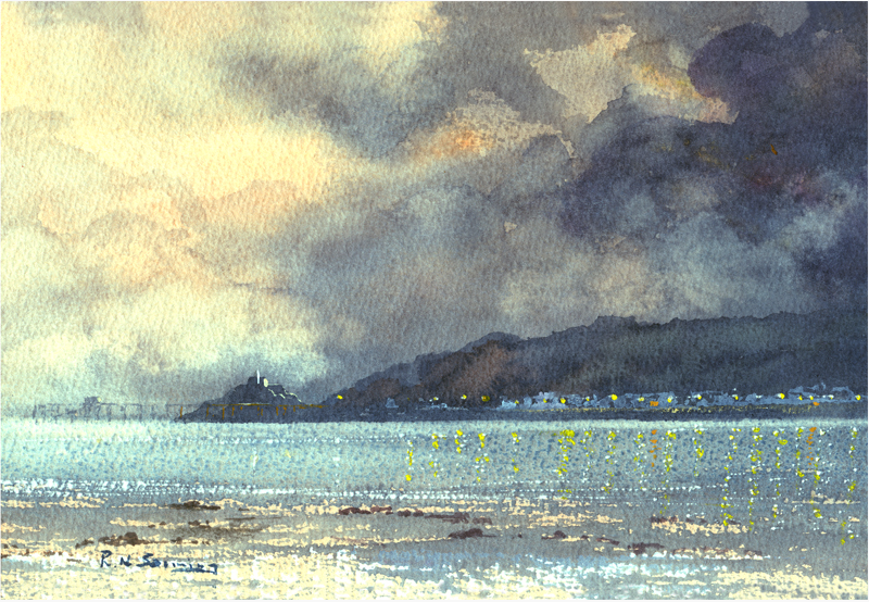 Silver Evening Mumbles Print sold on behalf of R N Banning