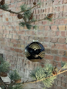 Lacquer Black Glass Ball with Gold Fans