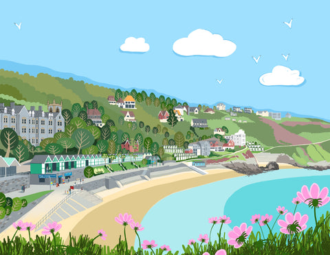 Langland Bay Giclee Print sold on behalf of Noodle Design