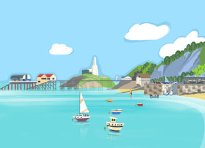 Mumbles Headland Giclee Print sold on behalf of Noodle Design