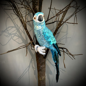 BlueGreen Sequin/Feather Parrot Ornament