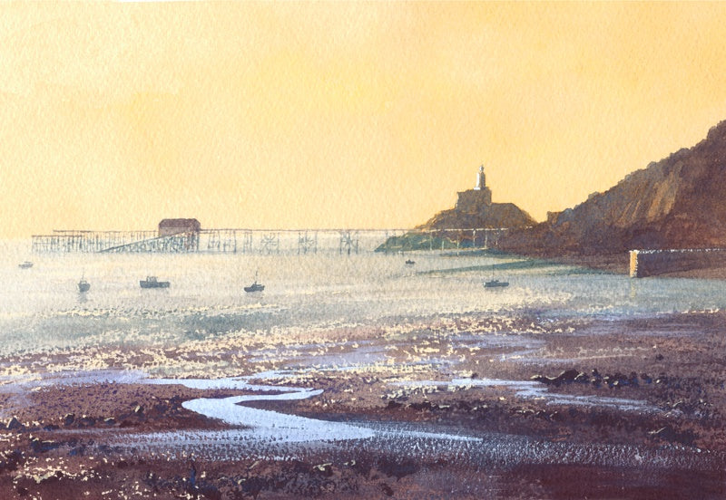 Dawn Mumbles Head (ebbing tide mumbles) Print sold on behalf of R N Banning