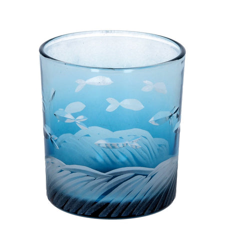 Glass Nite Lite 8cm - Blue Glass / Etched Fish