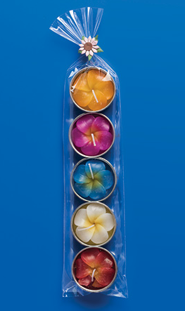 Pack of 5 franipani flower tealights