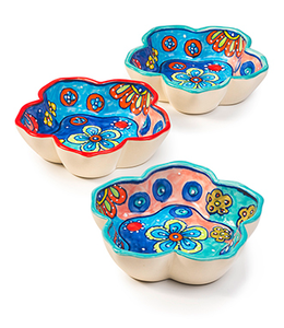 three flower shaped bowls with a handpainted multi coloured flower design.