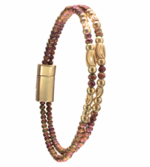 Bracelet - Double Row Matt Crystal Magnetic - Russet/Gold