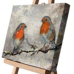 Rupert and Ruth Robins Canvas Cutie 15 x 20cm by Bree Merryn