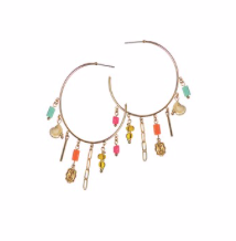 Earrings - Romany Hoops in Gold with Multi Beads