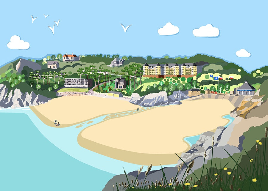 Caswell Bay Giclee Print sold on behalf of Noodle Design