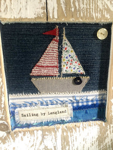 Sailing by Langland Driftwood Fabric Collage