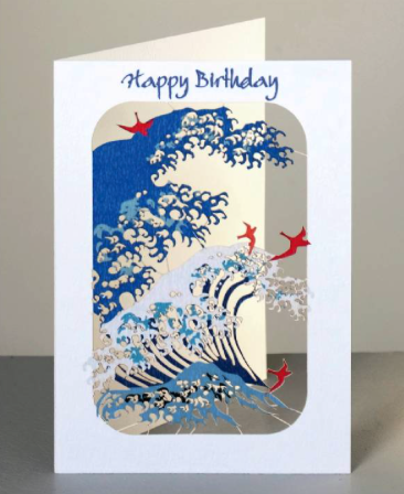 Happy Birthday Wave and Birds Greetings Card