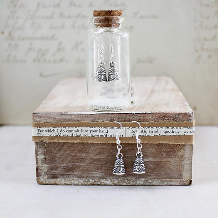 Thimble Charm Earrings in a Bottle by Zamsoe