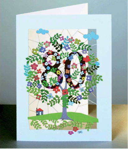Age 80 Tree Greetings Card