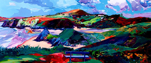 Three Cliffs Bay from the clifftops with a bench in the foreground painted by Michele Scragg.