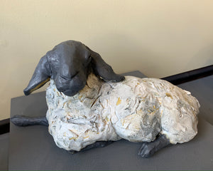 Medium Lying Sheep Ceramic with raku glaze