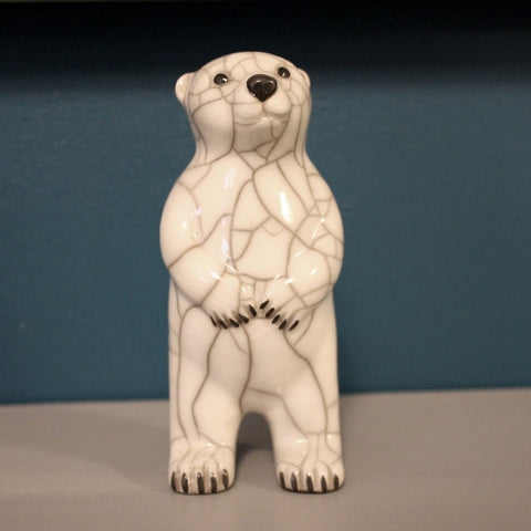 Small Polar Bear Upright Raku