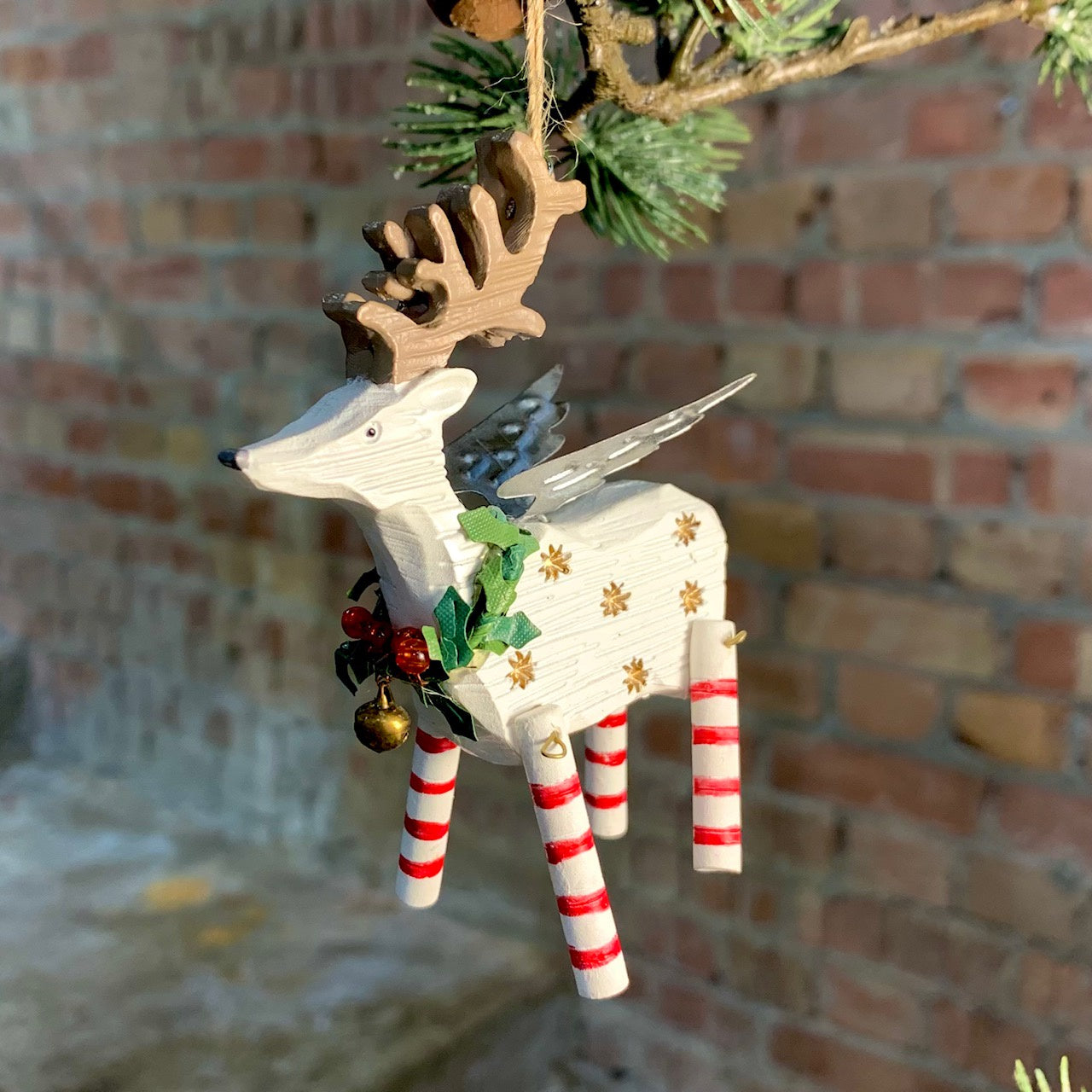 3-D Resin Reindeer w Tin Wings Holly Wreath Decoration