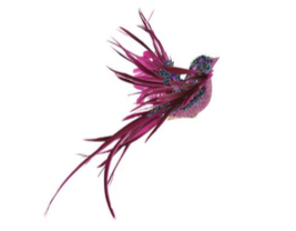 Blue/Fuchsia Bead/Feather Flying Bird on Clip