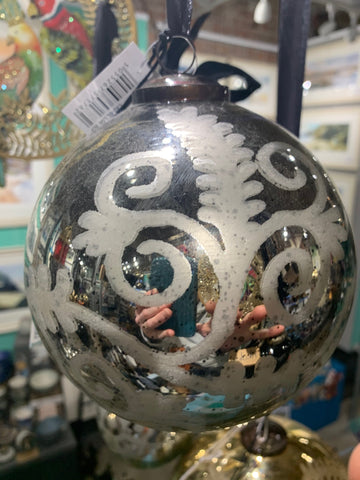 ANTIQUE SILVER ETCHED SPHERICAL BAUBLE - LARGE