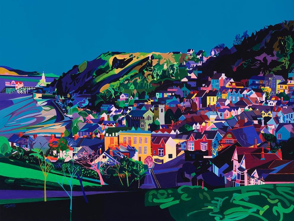 The Village of Mumbles with Swansea Bay the lighthouse and Mumbles Pier by the artist Michelle Scragg.