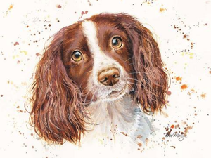 Sky Spaniel Dog Canvas Cutie 15x20 by Bree Merryn
