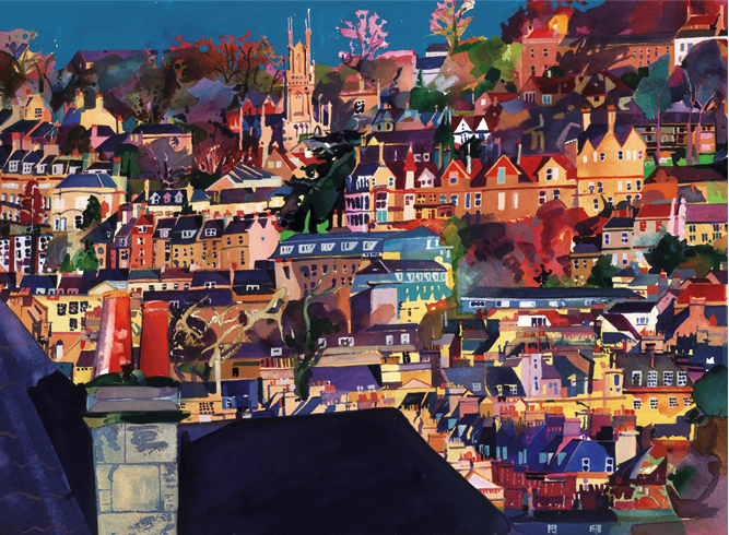 Bath Rooftops ltd ed print 65cm sold on behalf of Michelle Scragg