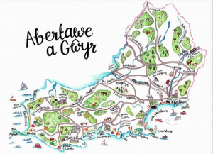 Abertawe map print by Megan Tucker