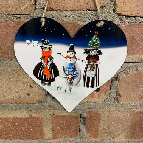 Metal Christmas Welsh Ladies Hanging Heart