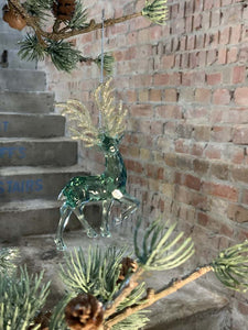 Prancing  Green with Gold Glitter Acrylic Deer Decoration