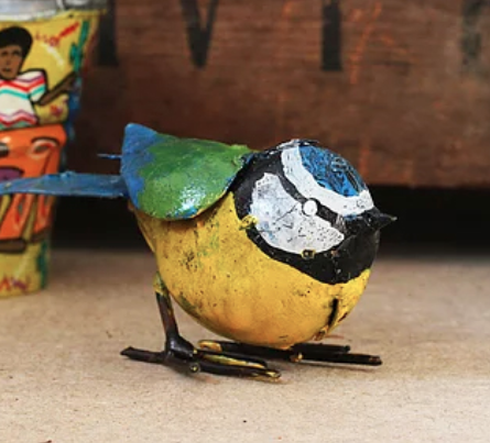 Blue Tit Recycled Metal