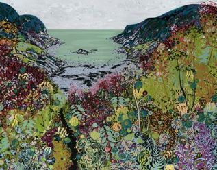 Greetings card illustrated with the painting Brandy Cove by Katie Allen